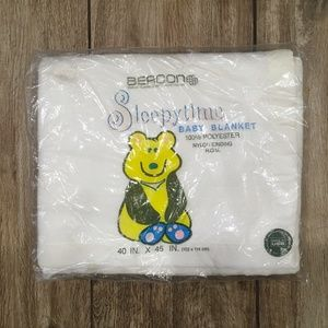 BEACON Sleepytime Baby Blanket White Trim